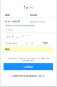 Ymail com sign up page