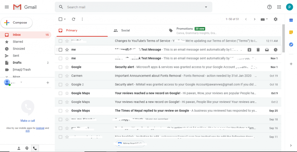 Hover mouse - Gmail Contacts