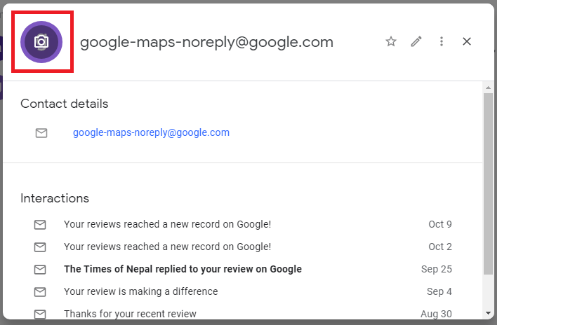 click on profile - Gmail Contacts