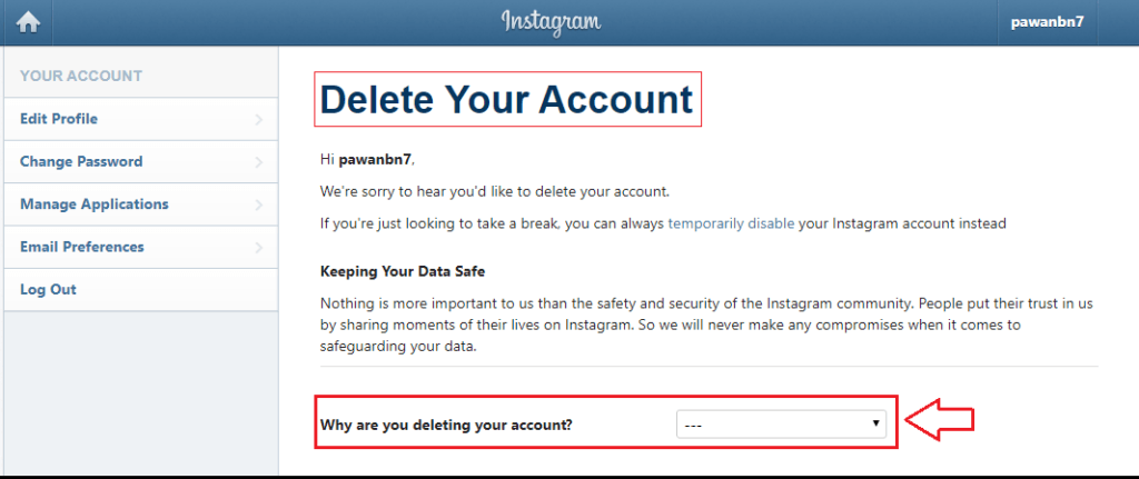deletion page - delete your Instagram account