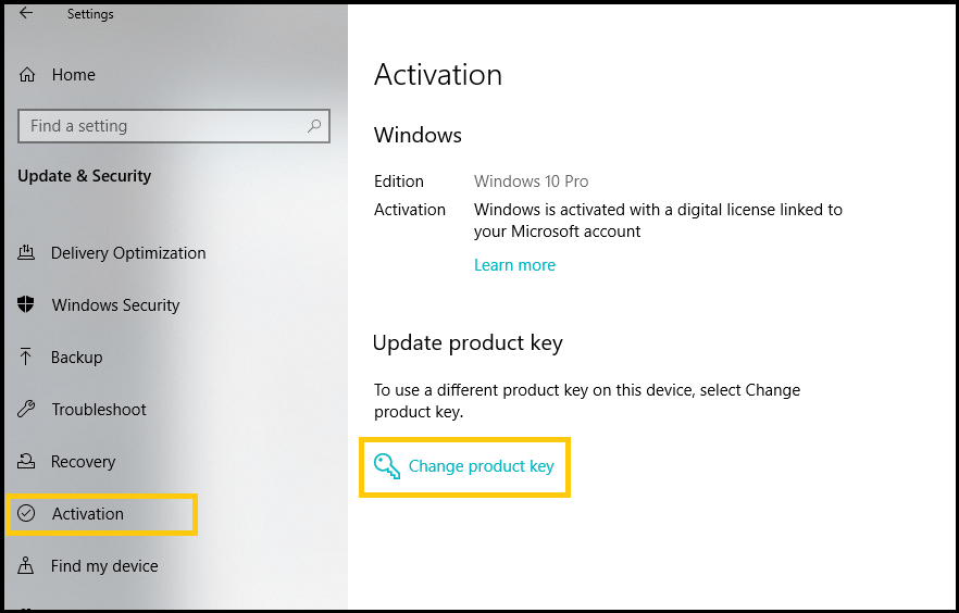 activate windows 10 with product