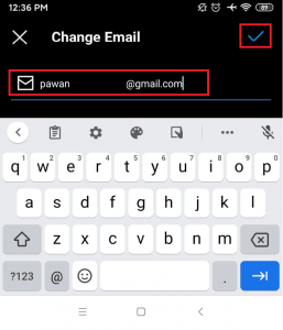 tick icon | remove the email address on instagram