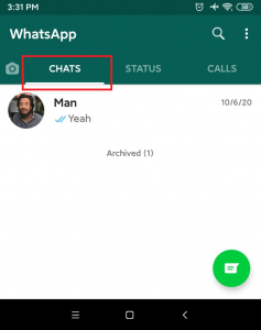 Chat section | chat list on whatsapp