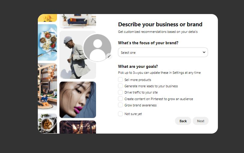 describing business or brand | Business Profile on Pinterest